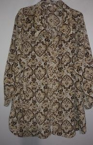 White Stag Gold Brown Tunic Top 2X Plus